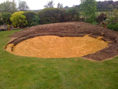 Sand fill ready for Pond liner