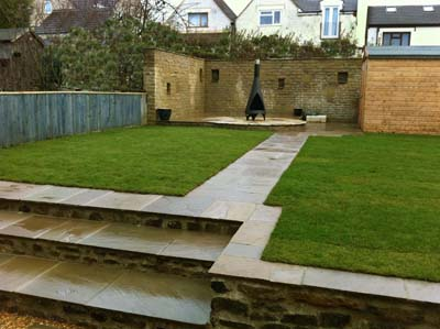 Garden with Steps leading to Walled Patio